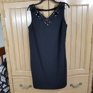 NWT, Anne Taylor Black Beaded Dress, sz 12